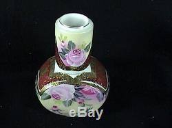 Vintage Kpm Porcelaine Lidded Tea Caddy Withcup Roses Roses D'or Vignes Et Garniture