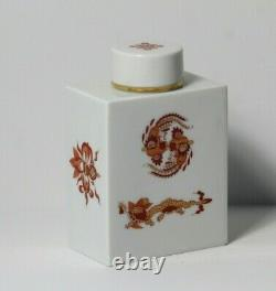 Vintage MID Century Meissen Chinois Rouge & Or Gilt Dragon Porcelaine Caddy