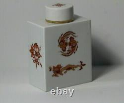 Vintage MID Century Meissen Chinois Rouge & Or Gilt Dragon Porcelaine Thé Caddy