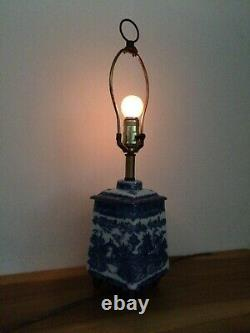 Vintage Porcelaine Bleue Et Blanche Lampe De Table Avec Dimmer Ringtons Tea Caddy Canister