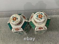 Vintage Porcelaine Japonaise Occupée Japon Paire De Thé Caddy Caddies Femmes Déc