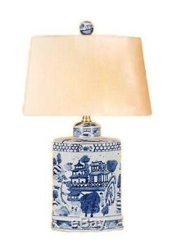 Vintage Style Bleu Et Blanc Porcelaine Blue Willow Tea Caddy Lampe De Table Avec Abat-jour