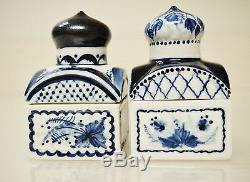 Vtg Porcelaine 2 Boîtes De Thé / Boîtes / Faites Trinket En Russie, Signé, 1993